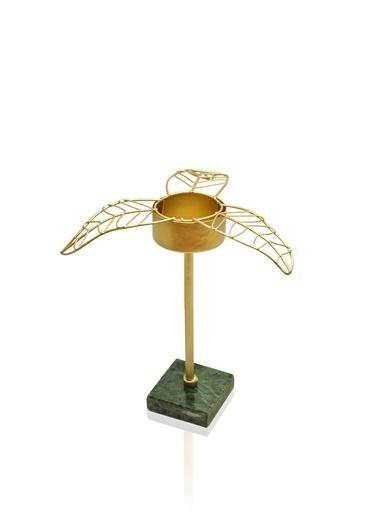The Mia Gold Yaprak Tealight Mumluk Küçük 16x14x12 Cm Altın